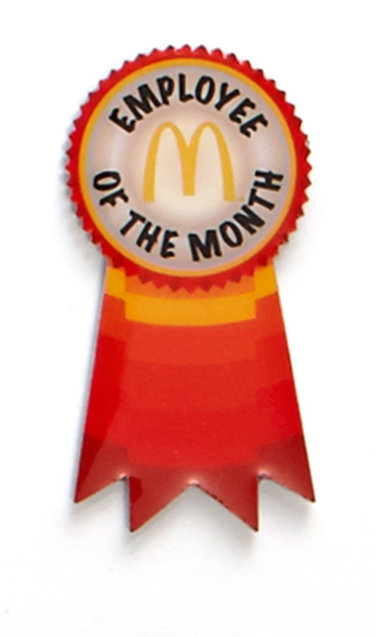 picture of employee of the month ribbon lapel pin