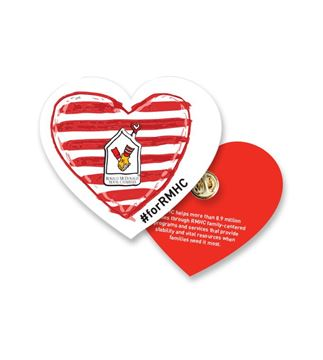 Picture of RMHC Lapel Pin on Heart-Shaped Pin Card