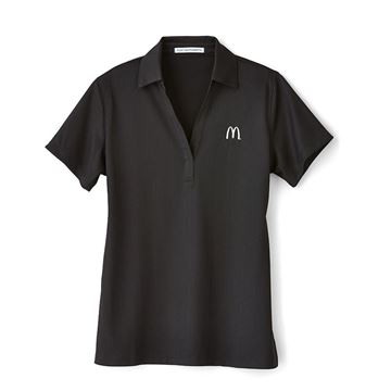Picture of Ladies' Black Jacquard Performance Polo