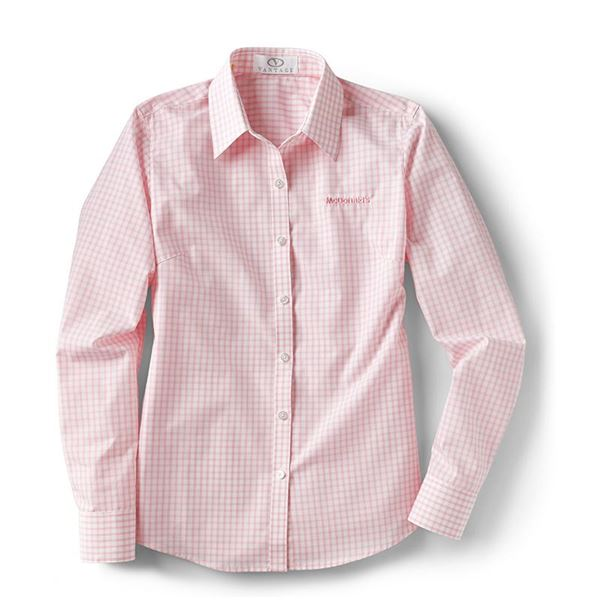 Ladies 39 pink gingham button down smilemakers mcdonald for Pink gingham shirt ladies