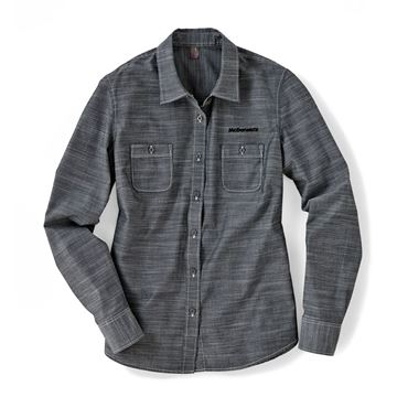 Picture of Ladies' Grey Chambray Long Sleeve Button Down
