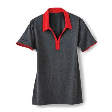Picture of Ladies' Red Collar Heather Polo