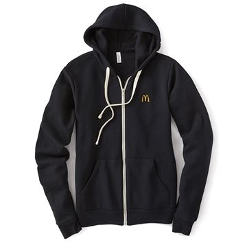 Picture of Solid Black Sponge Fleece Full-Zip Hoodie