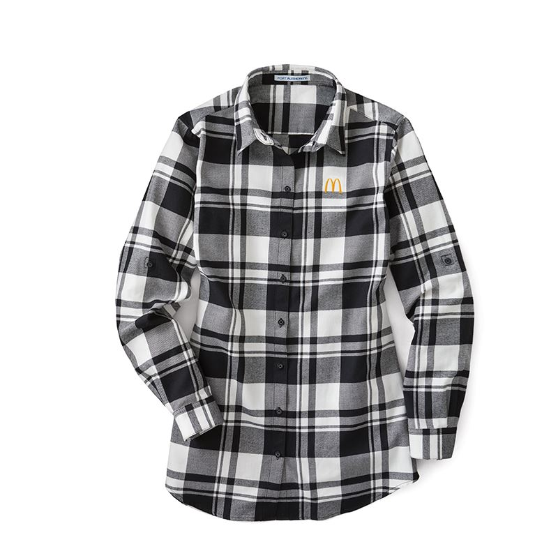 b995b4e3c0e3d8 Ladies' Black and White Flannel Shirt - Smilemakers | McDonald's ...