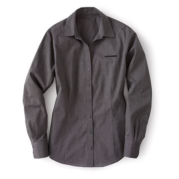Picture of Ladies' Soft Black Crosshatch Easy Care Button-Down Shirt