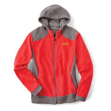 Picture of Ladies' Red Microfleece Full Zip Hoodie