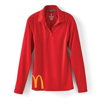 Picture of Ladies' Red Cropped Arches Long Sleeve Polo
