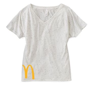 Picture of Ladies' White Triblend Fleck V-Neck