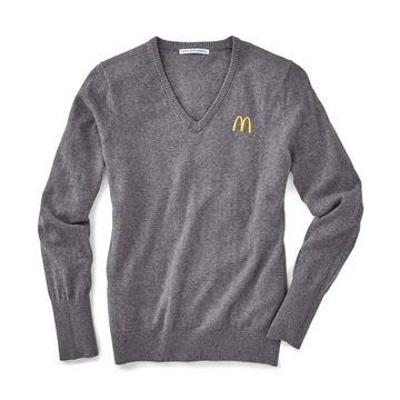 Picture of Ladies' Grey V-Neck Sweater