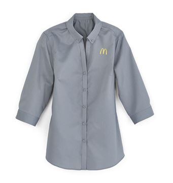 Picture of Ladies 3/4 Sleeve Button Down Grey
